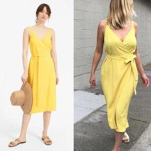 Everlane The Japanese GoWeave Yellow Wrap Dress